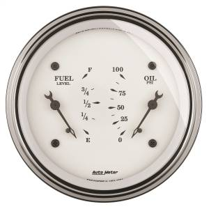 "Electrical - Misc. Electircal - AutoMeter - AutoMeter GAUGE, DUAL, FUEL & OILP, 3 3/8"" , 0OE-90OF & 100PSI, ELEC, OLD TYME WHITE 1624"
