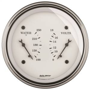 "Electrical - Misc. Electircal - AutoMeter - AutoMeter GAUGE, DUAL, WTMP & VOLT, 3 3/8"" , 250 Degrees F & 18V, ELEC, OLD TYME WHITE 1630"