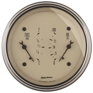 "Electrical - Misc. Electircal - AutoMeter - AutoMeter GAUGE, DUAL, FUEL & OILP, 3 3/8"" , 0OE-90OF & 100PSI, ELEC, ANTQ BEIGE 1824"