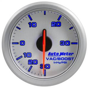 "Electrical - Gauges & Pods - AutoMeter - AutoMeter 2-1/16"" BOOST/VAC, 30 IN HG/30 PSI, AIRDRIVE, SILVER 9159-UL"