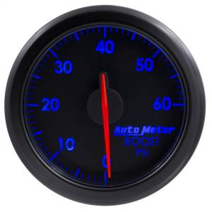 "Electrical - Gauges & Pods - AutoMeter - AutoMeter 2-1/16"" BOOST, 0-60 PSI, AIRDRIVE, BLACK 9160-T"